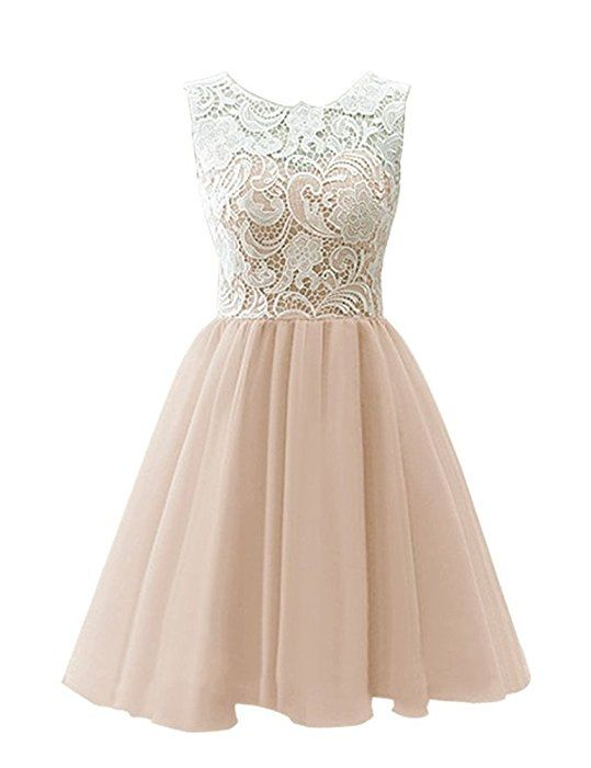 WHENOW Women's Lace Short Bridesmaid Dress Formal Homecoming Cocktail Party Dress Champagne US 2