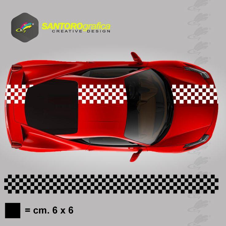 striscia a scacchi - quadrati da 6 cm - adesivo per auto - disponibile in varie misure. #strisceascacchi #adesivoperauto #cambiolookallamiaauto #solodasantorografica