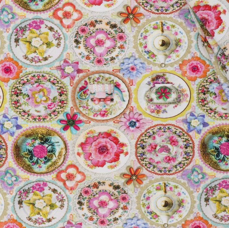 So Cute Tricot stof digitaal print, High Tea Party