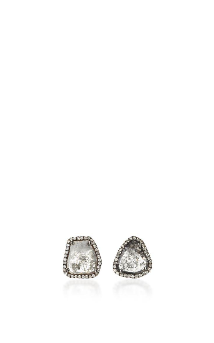 Slice Diamond Stud Earrings by NINA RUNSDORF Now Available on Moda Operandi