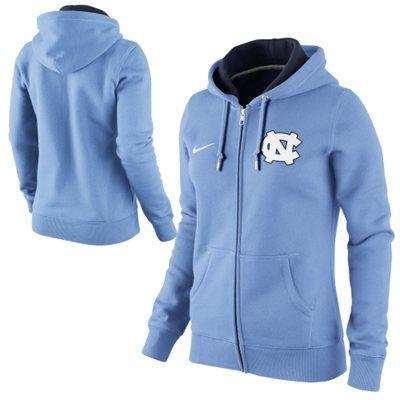Nike North Carolina Tar Heels (UNC) Ladies Full Zip Hoodie - Carolina Blue Medium - $48.99