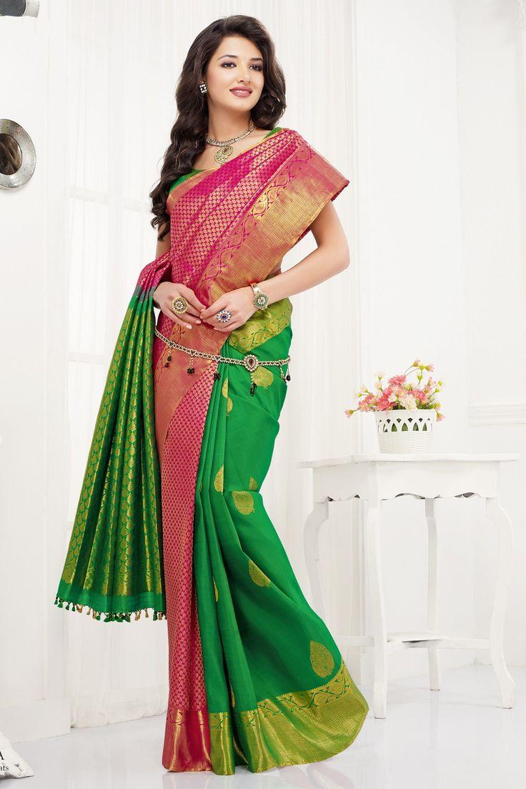 Pink pure silk presentable zari weaved saree with gold border-SR10357 | Indian kanjeevaram silk sarees | #pinksilksaree