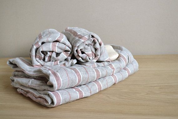 Set Of 4 Pre-washed Natural Linen Body Towels / Bath Sheet With Red Stripes Two sizes