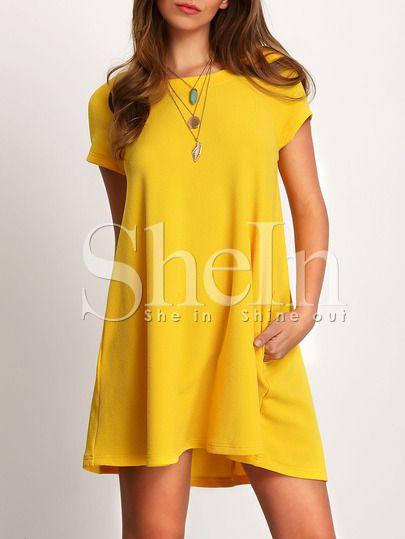Robe manche courte avec poches -jaune-French SheIn(Sheinside)Site Mobile