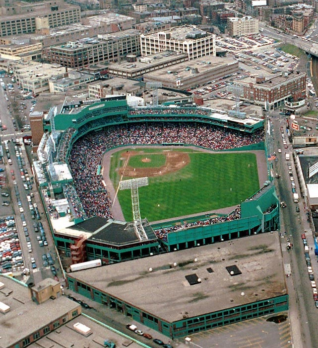 An aerial view of Fenway Park in 1995. At the time, there was talk of a projected replacement for the park at the cost of $600,000,000.00 million, but fans were unhappy with public money being used for a sports venue.  Photographed by: AP