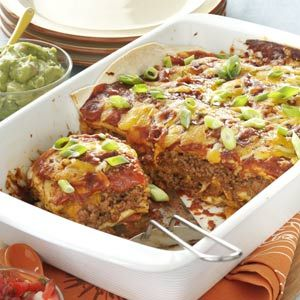 Pan Burritos Recipe -Our family loves Mexican food, so this flavorful, satisfying casserole is a favorite. It's nice to have a way to get the taste of burritos and be able to cut servings any size you want. -Joyce Kent, Grand Rapids, Michigan