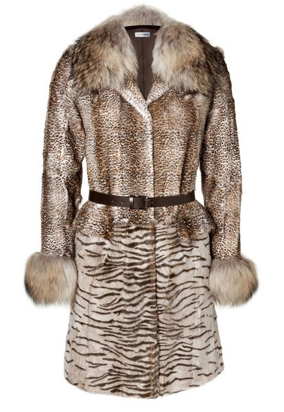 Philosophy Di Alberta Ferretti Tonal Beige Animal Print Belted Fur Coat in Beige