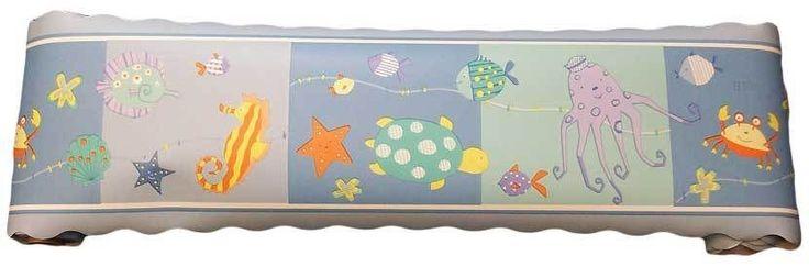Sea Life Ocean Animals with Turtles Baby Nursery Wall Border Decor By Kidsline picclick.com