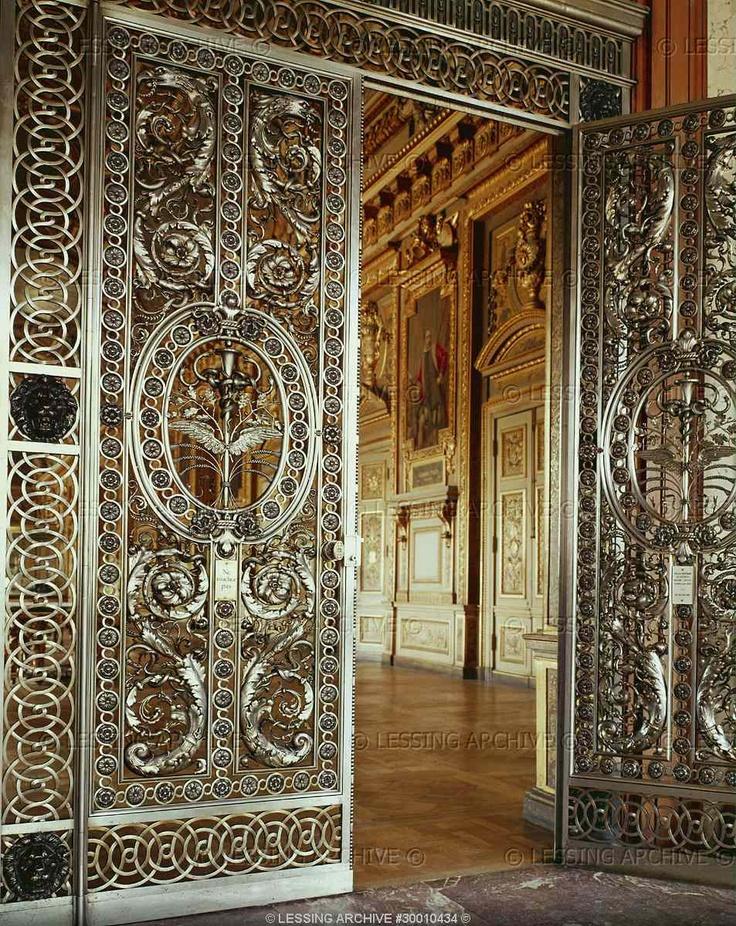 BAROQUE ARTS & CRAFTS 17TH CENTURY   Doors of the Galerie d'Apollon, 1650 - wrought iron and silver. From the Chateau de Maisons   Louvre, Departement des Objets d'Art, Paris, France