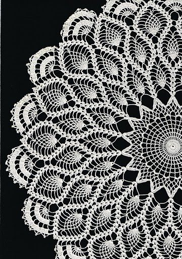 crochet doily...pineapple Pattern   My grandma made me one like this.