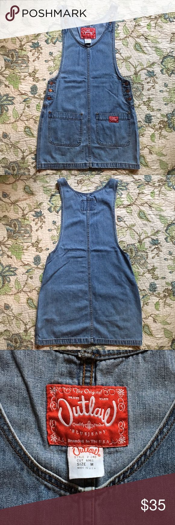 """Vintage 90s denim overall dress Vintage 90s denim overall dress. Blue Jean overall button straps, has 2 pockets in the front. Slight wear at the corners in the pockets. Measurements are taken laying flat: length: 33"""" Vintage Dresses Mini"""