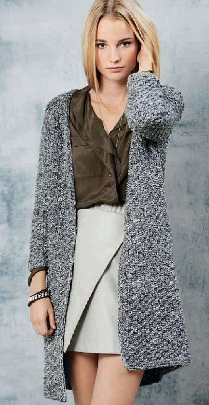 Элегантное пальто из двух видов пряжи   петелики