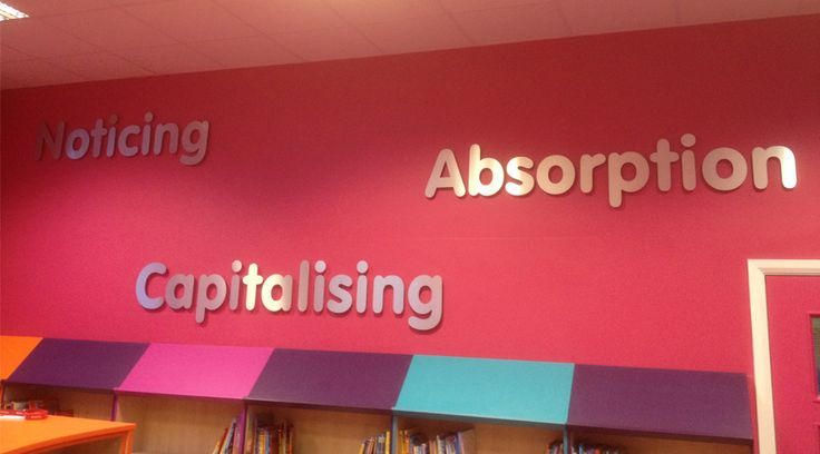Library wall graphics. Stainless steel lettering for school libraries to create and inspirational environment. By space3.co.uk