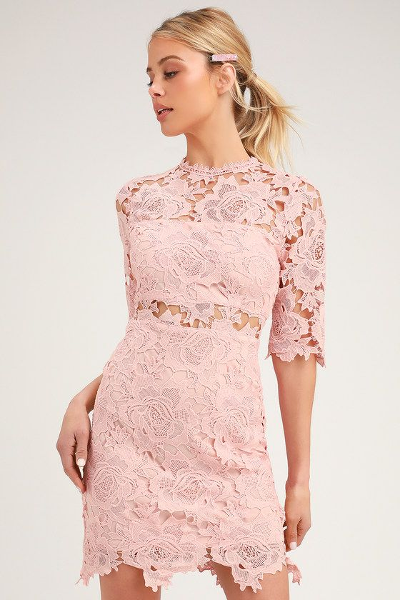 eda82dc855e18 Lulus | A Fine Romance Blush Pink Lace Sheath Dress | Size Large ...