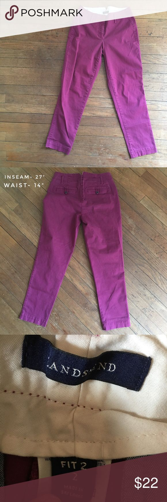 LANDS END berry crops Fit 2- size 2- adorable ankle cut pants by Lands End- excellent quality- measurements are listed in photos- final pics are pulled from online to show fit as these are too small for me to model Lands' End Pants Ankle & Cropped