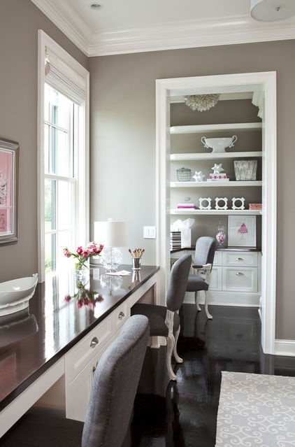 traditional home office by Martha O'Hara Interiors: Wall Colors, Idea, Offices Spaces, Paintings Colors, Grey Wall, Desks, Benjamin Moore, Gray Paintings, Home Offices