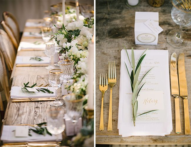 gold utensils + olive branches for a metallic wedding table