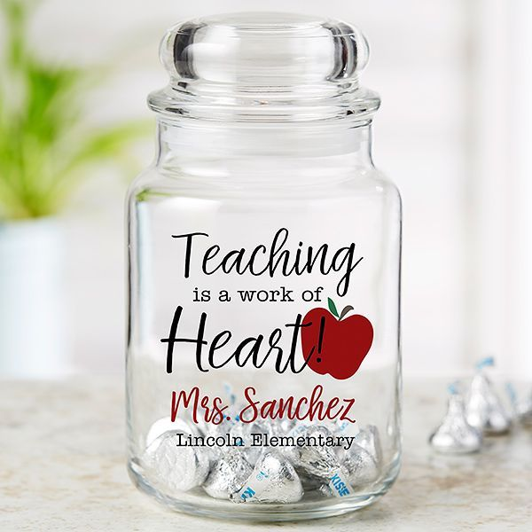 Inspiring Teacher Personalized Glass Candy Jar Teacher Valentine Gifts Unique Teachers Gift Personalized Candy Jars