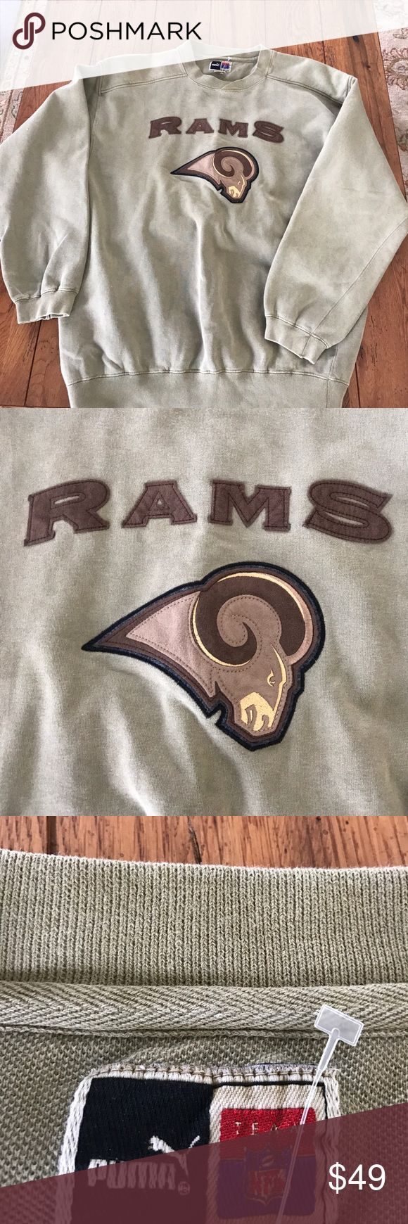 Vintage Puma NFL Los Angeles Rams Sweatshirt M Awesome sweatshirt, size medium , like new with a vintage fade to it (came this way) non smoking house Puma Shirts Sweatshirts & Hoodies