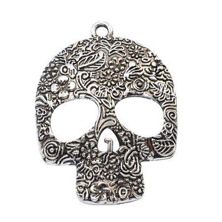 2pcs--Skull, Antique Silver, 49X66mm