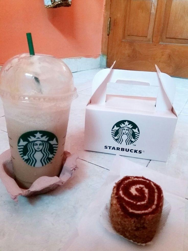 Red Velvet Roll and Caramel Cream Frappuccino 😊😋 #starbucks