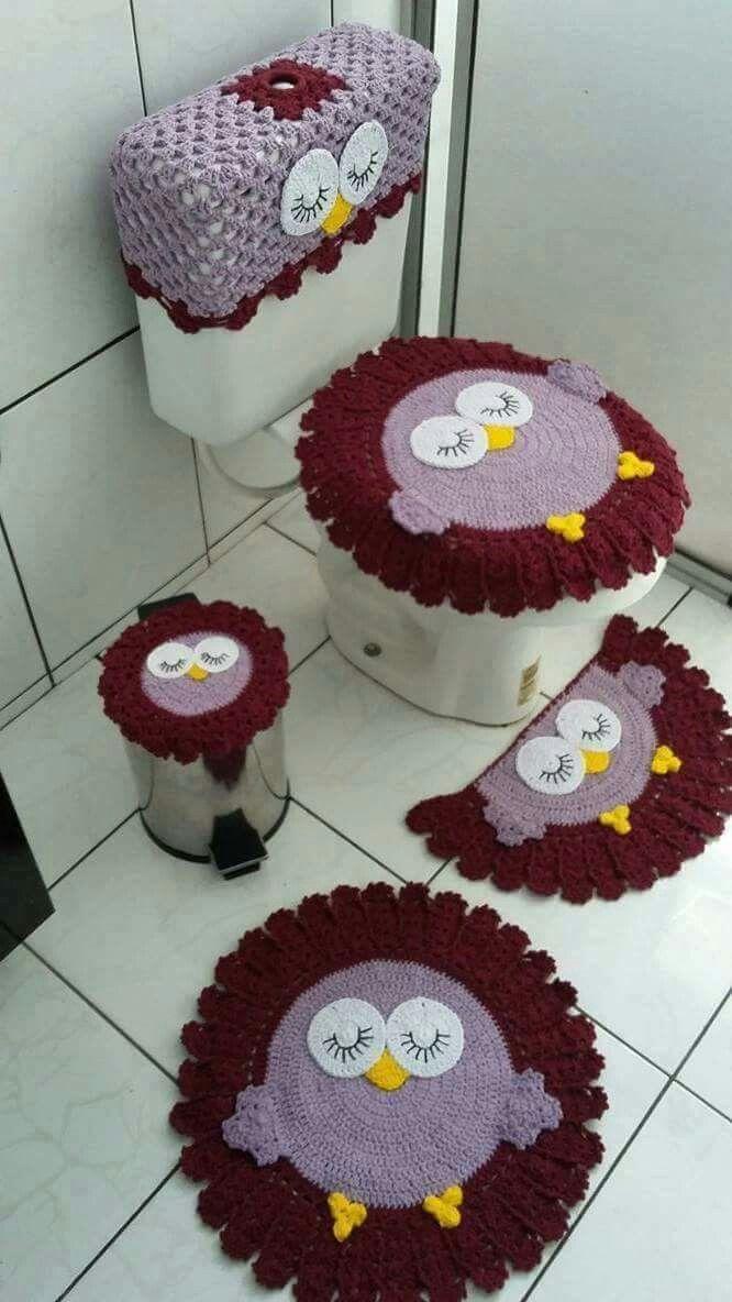 Tapetes de banheiro crochê coruja