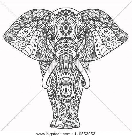 Greeting Beautiful Card With Elephant Perfect Cards Or For Any Other Kind Of Design Birthday And HolidaySeamless Hand Drawn Map