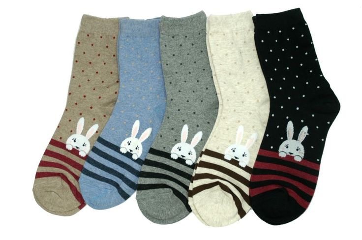Rabbit Character Socks 5 Pair Hare Animal Striped Pattern Fashion Style Cute #GGORANGNAE #Casual #CharacterSocks #women #Kid #Girl #Lady #Funny #Novelty #Pattern