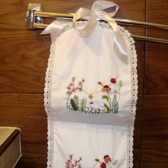 Toilet paper holder with hand embroidery Bathroom storage