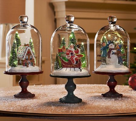 Illuminated 13 Holiday Scenes Under Glass w/Mirror Insert by Valerie