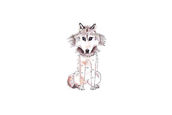 Wolf cartoon digital down loadable art Brown wolf nursery or