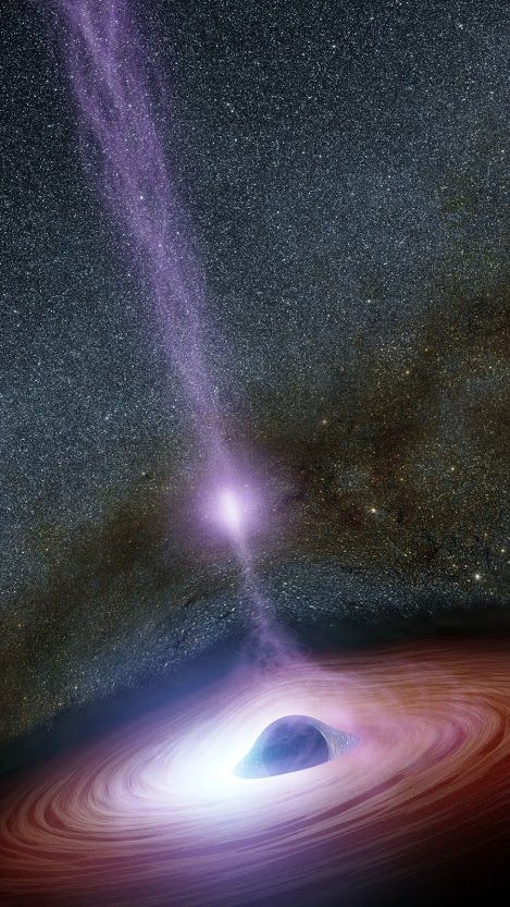 Shifting Coronas Around Black Holes | A supermassive black hole is depicted in this artist's concept, surrounded by a swirling disk of material falling into it. The purplish ball of light above the black hole, a feature called the corona, contains highly energetic particles that generate X-ray light. If you could really view the corona, it would be nearly invisible since we can't see its X-ray light.