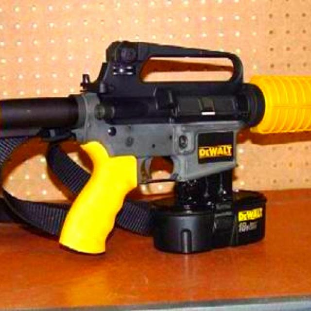 DEWALT nail gun. Drives 16D nail through 2x4 at 200 yards.