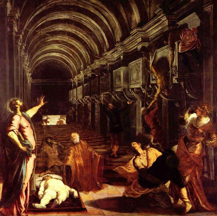 Jacopo Tintoretto.  Auffindung der Leiche des Hl. Markus. Um 1562, Öl auf Leinwand, 405,2 × 405,2 cm. Mailand, Pinacoteca di Brera. Venezianische Schule. Italien. Manierismus.  KO 00910