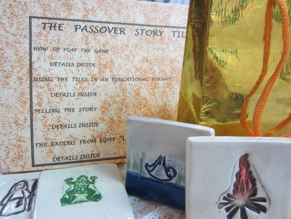 Great addition to your Passover Sedar.  Passover Story Tiles for the Sedar Table by Jewish Heirlooms, $50.00