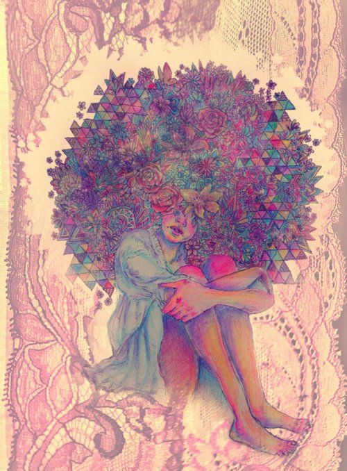 Gorgeous art!  It's like flowers, shapes, colors and patterns in her hair.