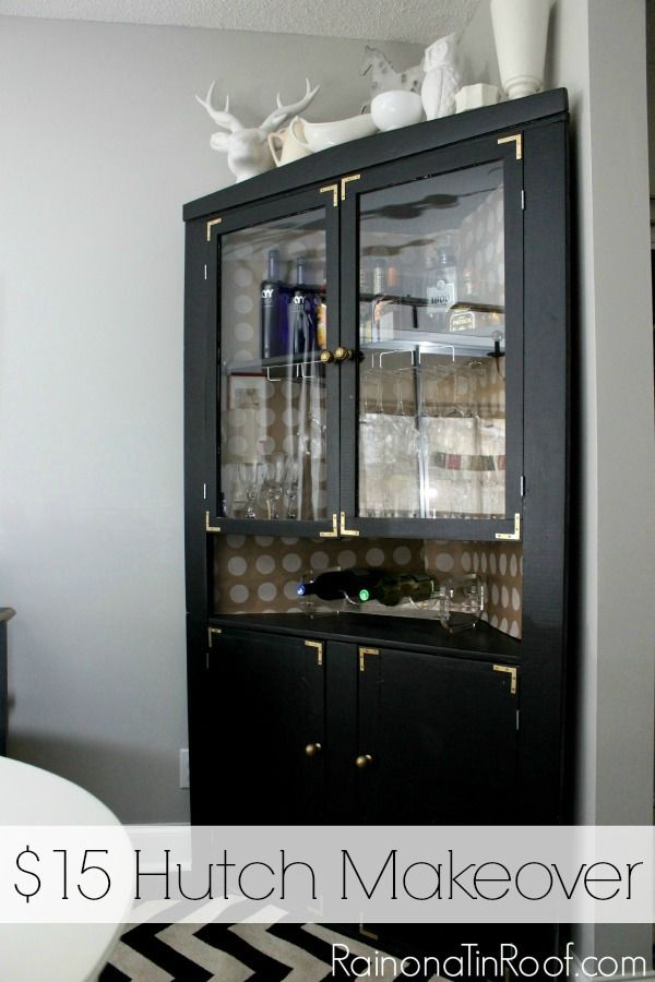 Easy and cheap idea that totally changes the look of a piece. $15 Hutch Makeover via RainonaTinRoof.com #makeover