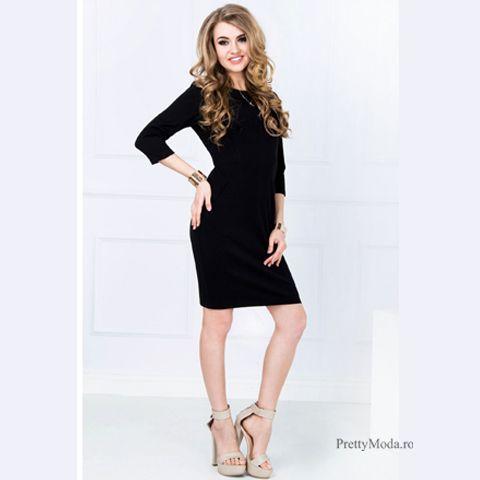 Rochie casual confortabila de culoare neagra #rochiecasual #rochiedezi #rochieoffice #neagra #rochiipentrubirou