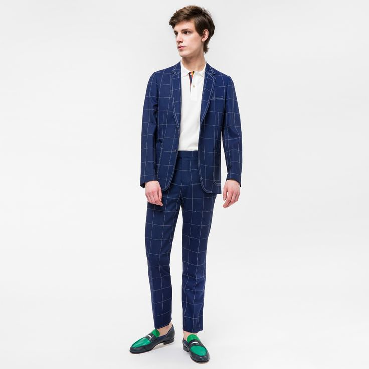 Paul Smith A Suit To Travel In - Men's Tailored-Fit Blue Loro Piana Wool Windowpane Check Blazer Image 2