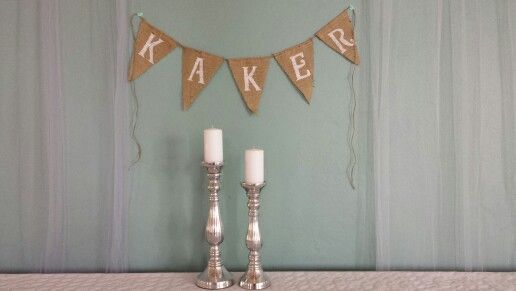 "Burlap banner for our wedding. (It says ""cakes"" )"