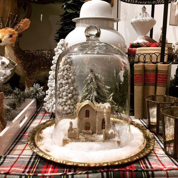 #decorate #home #christmas #snow #cloche #mini #glitter #house
