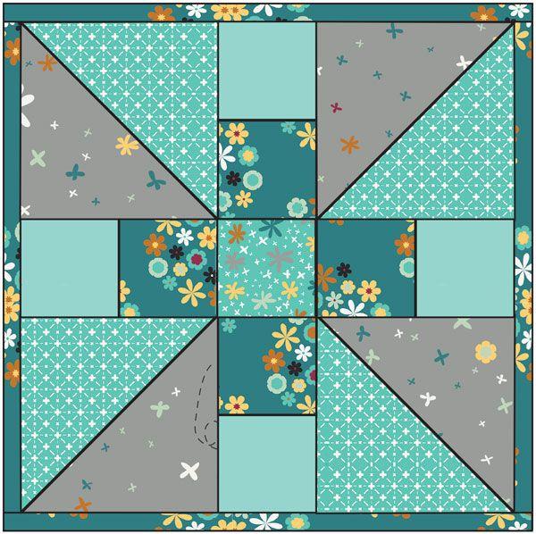 Pinwheel variation quilt block #quilt #block #pinwheel.