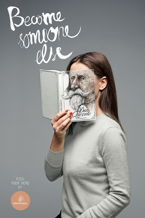 'Become Someone Else' ad for Mint Vinetu Bookstore