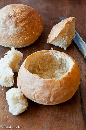 Homemade Bread Bowls // Using Bread Machine dough by Salad in a Jar