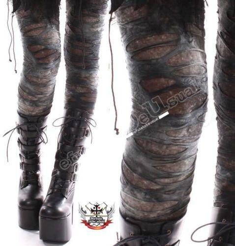 Punk-Zerrissen-Notleidenden-Gebrochenen-Loch-Grunspan-Tie-Dye-Mumie-Leggings