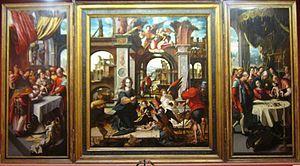 Triptych by Pieter Coecke van Aelst, 1546Il Trittico di Nava y Grimón è un dipinto a olio su tavola, (190x190 cm il pannello centrale e 190x97 ciascun pannello laterale) datato 1546 e attribuito a Pieter Coecke van Aelst (pannello centrale) e lateralmente al suo atelier. È l'opera d'arte più famosa e conosciuta del Museo municipale di belle arti di Santa Cruz de Tenerife, nelle Isole Canarie (Spagna).[1]-