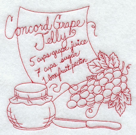 White Kitchen Towel Concord Grape Jelly Redwork by Sewminedesigns, $10.00