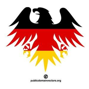Vector illustration of eagle silhouette with German flag inside the shape.
