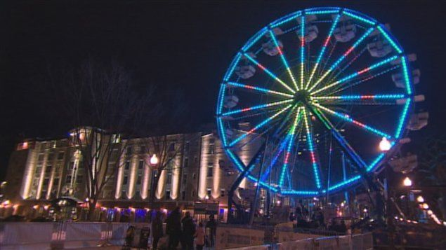 La grande roue de Québec illuminée Grande Allée, Québec