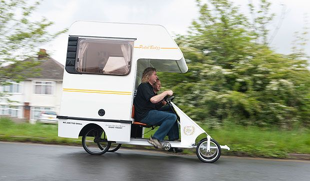 """Teeny (my word for the """"smaller than tiny"""" category) camping van/bicycle. adorable, & fantastic for someone who just wants to make a trip with it. I would NOT recommend trying to live in it. Pics in link :)"""